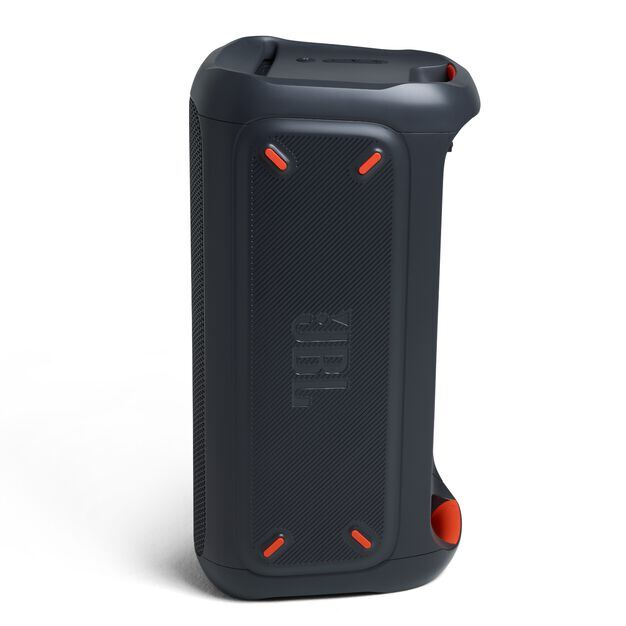 China:- - Black - Powerful portable Bluetooth party speaker with dynamic light show - Left